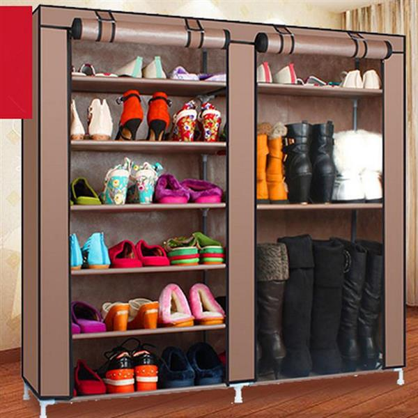 Zimtown 9 Lattices Shoes Rack Double Rows Combination Style Shoe Cabinet (Coffee)