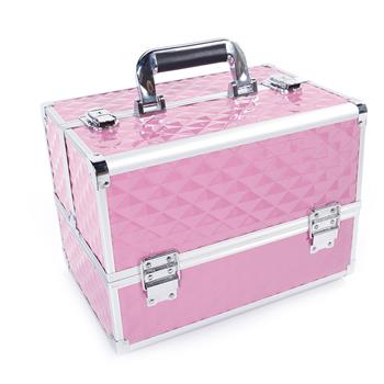 Multi-layer Professional Portable Aluminum Cosmetic Makeup Case Pink