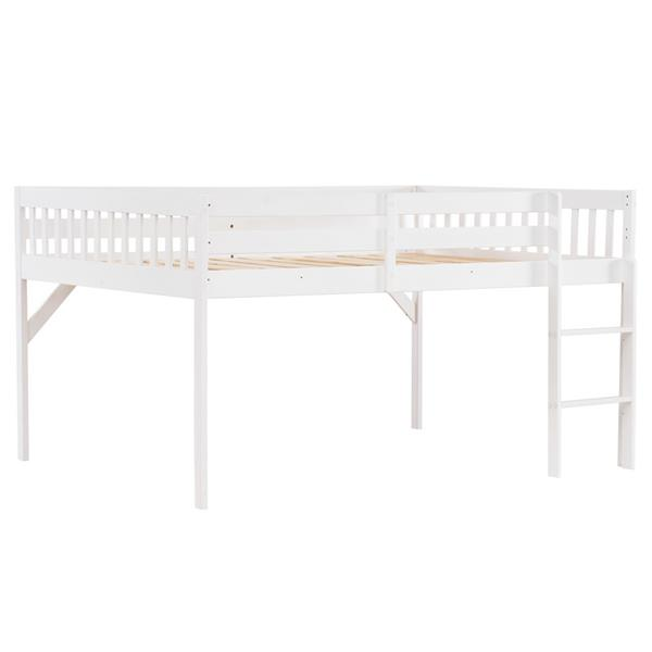 """Children's Pine Elevated Bed Vertical Version Straight Bedside 43 """"H Full White"""