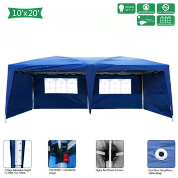 Lotto 3 x 6m Two Windows Practical Waterproof Folding Tent Blue