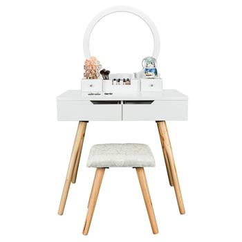 Bonnlo Dressing Table with Single Round Mirror & 4 Drawers White