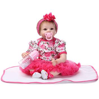 "22"" Mini Cute Simulation Baby Toy in Floral Lace Dress Red"