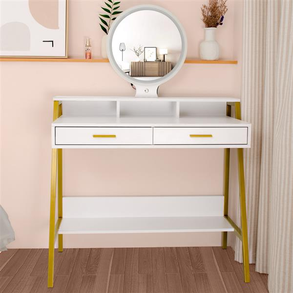 FCH LED Three-Color Touch Round Mirror With 2 Drawers, With Shelf And Steel Frame Dressing Table White