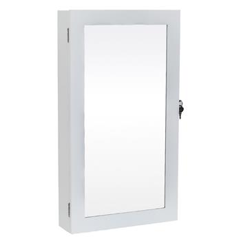 Jewelry Cabinet Armoire with Mirror, Wall-Mounted Space Saving Jewelry Storage Organizer White