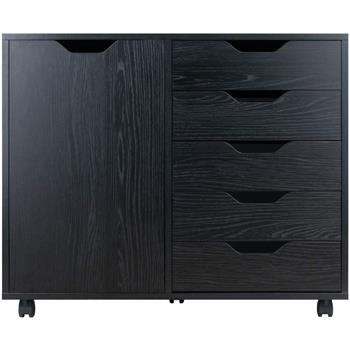 Wood Filing Cabinet, 5 Drawers plus 2-compartment Cabinet,Black Color