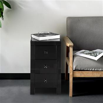 Mirrored Glass Bedside Table with Three Drawers Black