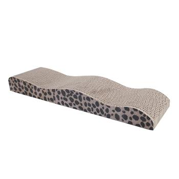 Cute Wave Shape Dual Sides Corrugated Paper Pet Cat Toy Cat Claw-grinding Plate with Catnip Leopard