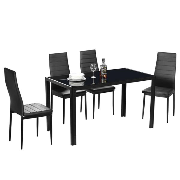 Iron Dinner Table Black & 6pcs Elegant Assembled Stripping Texture High Backrest Dining Chairs Black