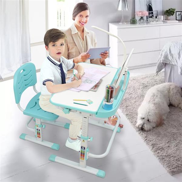70CM Lifting Table Top Can Tilt Children Learning Table And Chair Blue-Green (With Reading Stand   USB Interface Desk Lamp)