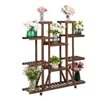Artisasset 6-Story 11-Seat Indoor And Outdoor Multi-Function Carbonized Ribbon Wheel Wooden Plant Stand