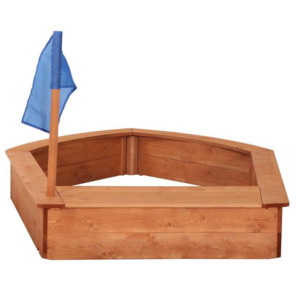 Kids Wooden Sandboat Backyard Sandboxes