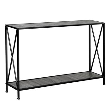 Artisasset Grey MDF Countertop Black Wrought Iron Base 2 Layers Forked Console Table