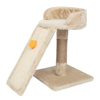 """HOBBYZOO 17"""" Cat Tree Tower with Scratching Board Ladder, Jump Platform, Toy, Beige"""