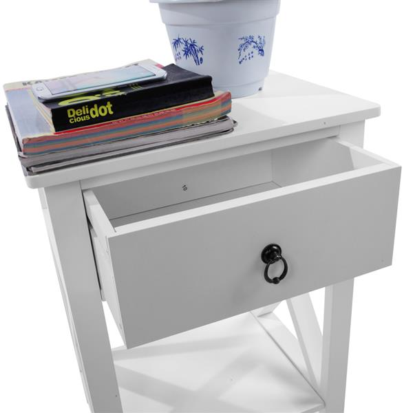 Side Intersection Style Bedside Table Coffee Table with Two-layer Drawer White