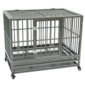 "42"" Heavy Duty Dog Cage Crate Kennel Metal Pet Playpen Portable with Tray Silver"