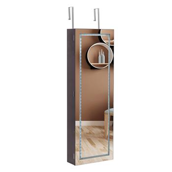 Full Mirror Wooden Wall Mounted 4-Layer Shelf With Inner Mirror 3-Color LED Light Jewelry Storage Mirror Cabinet - Dark Brown