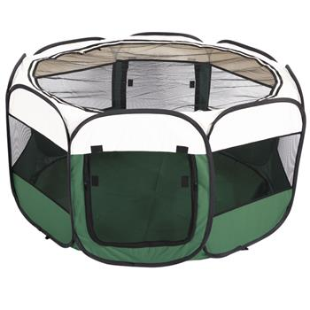 """HOBBYZOO 45"""" Portable Foldable 600D Oxford Cloth & Mesh Pet Playpen Fence with Eight Panels Green"""