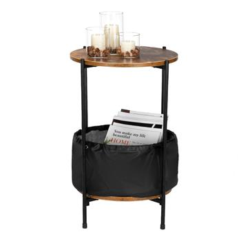 HODELY Wood Color Round Table Top Two Layers With Artificial Leather PVC Waterproof Cloth Newspaper Bag Wrought Iron Side Table
