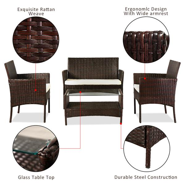 OSHION Outdoor Leisure Rattan Furniture Four-piece Set Double Coffee Table - Brown