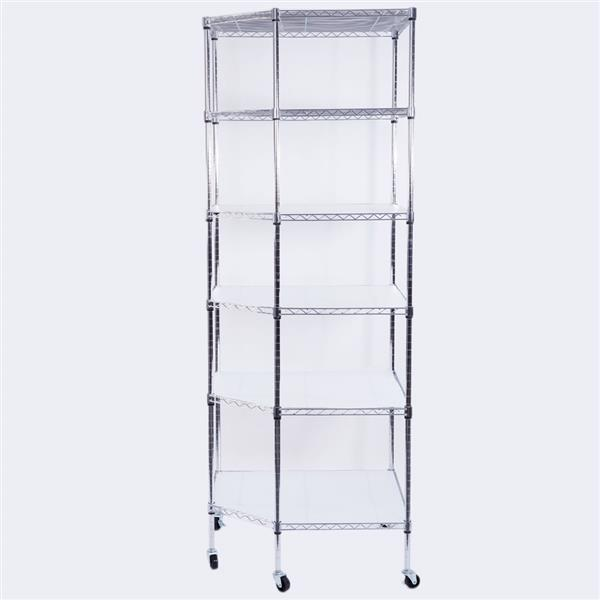 """6-Layer Chrome Plated Polygonal Corner Shelf with 2"""" PP Wheels 680*680*1800 Silver"""