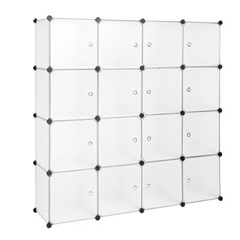 Modular Closet Organizer Plastic Cabinet, 16 Cube Wardrobe Cubby Shelving Storage Cubes Drawer Unit, DIY Modular Bookcase Closet System Cabinet with Doors for Clothes, Shoes, Toys, White