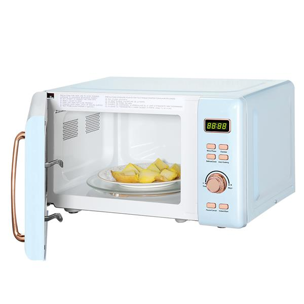 ZOKOP B20UXP52/Blue 20L/0.7cuft Retro Microwave with Display / Golden Handle