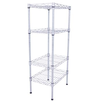 XM-207S Rectangle Carbon Steel Metal Assembly 4-Shelf Storage Rack Silver Gray