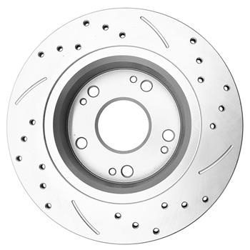2Pc Rear Brake Rotors For 2003 Acura TSX 2004 2005 2006 2007 2008 Drilled Silver