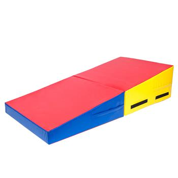 "60""x30""x14"" Trapezoid Gymnastics Mat Red & Yellow & Blue"