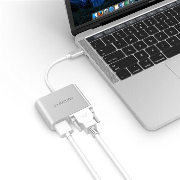 Ban on Amazon platform sales LENTION USB-C to HDMI and VGA Digital AV Adapter, USB 3.1 Type-C and Thunderbolt 3 Compatible (Silver)