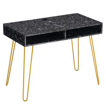 [103 x 55 x 80]cm Marble Iron Foot Computer Table Black
