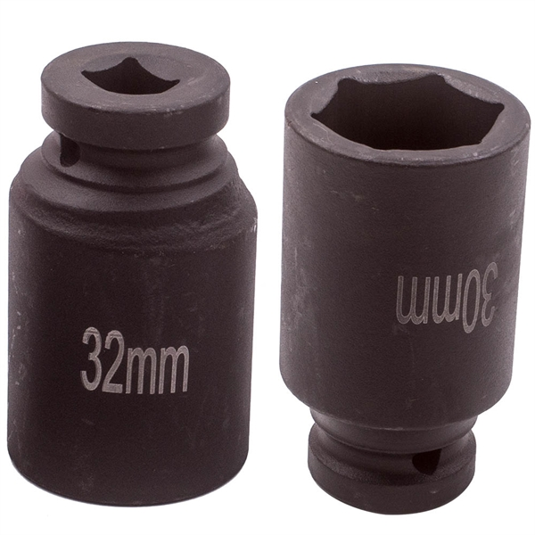 """1/2"""" Drive 6 Point Deep Spindle Axle Nut Socket Set 30mm 32mm 34mm 36mm Install"""