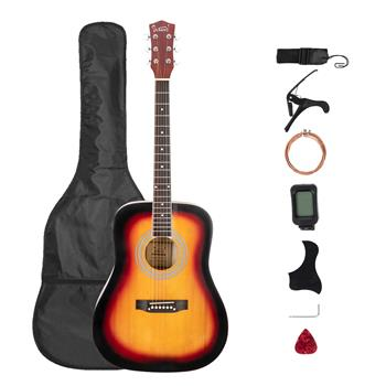 [Do Not Sell on Amazon]Glarry Gt508 41 Inch Rounded Spruce Panel Matte Edging Folk Guitar Bag Shield Wrench Tuner Capo Shoulder Strap String Paddles Sunset Color