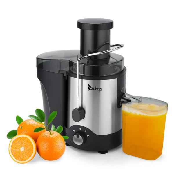 ZOKOP ALW-J01 120V 600W 75MM Large Caliber 600ML Juice Cup 1000ML Slag Cup Third Gear Electric Juicer Stainless Steel Black