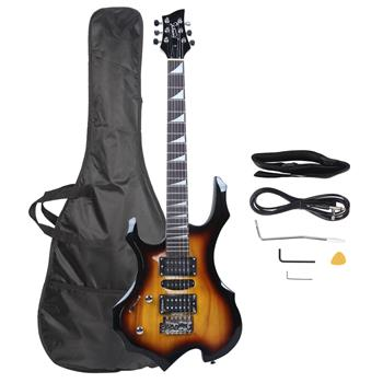 [Do Not Sell on Amazon]Glarry Flame Left Hand Electric Guitar HSH Pickup Shaped Electric Guitar  Pack   Strap   Picks   Shake   Cable   Wrench Tool   Sunset Color