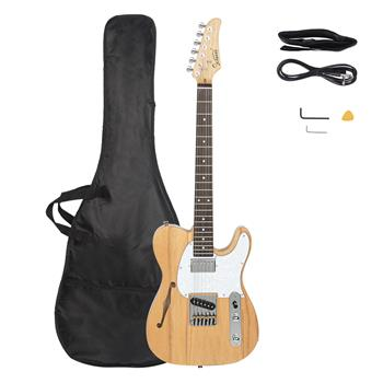 [Do Not Sell on Amazon]Glarry GTL Semi-Hollow Electric Guitar F Hole HS Pickups Rosewood Fingerboard White Pearl Pickguard Burlywood Electric Guitar