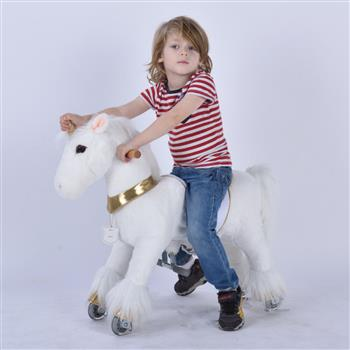 UFREE Small 29'' Ride-on Unicorn for Children 3-6 Years Old. (White Unicorn with Golden Horn) (DO NOT SELL ON AMAZON) (DISCOUNT ON BULK PURCHASE)