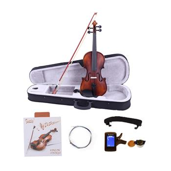 [Do Not Sell on Amazon]Glarry GV200 4/4 Classic Solid Wood Violin Case Bow Violin Strings Rosin Shoulder Rest Electronic Tuner