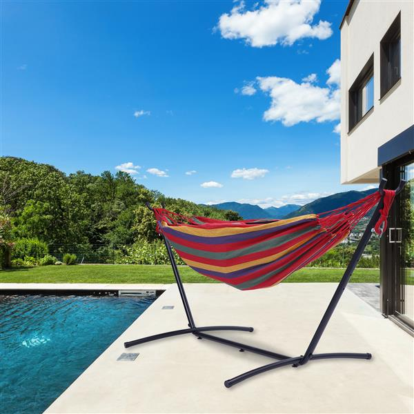 """112"""" Large Size Double Classic Hammock with Stand for 2 Person- Indoor or Outdoor Use-with Carrying Pouch-Powder-coated Steel Frame - Durable 450 Pound Capacity,Red Striped"""
