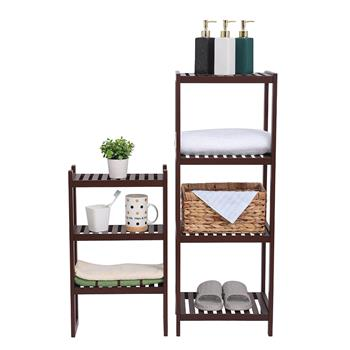 100% Bamboo Bathroom Rack, Multi - Functional And Removable 7-Layer Shelf, Multi - Function 72 * 43.5 * 160.7cm Dark Brown