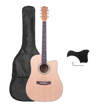 [Do Not Sell on Amazon]Glarry GT603 41 inch Dreadnought Spruce Front Cutaway Manchurian Ash Back Folk Guitar with Bag & Board & Wrench Tool Burlywood
