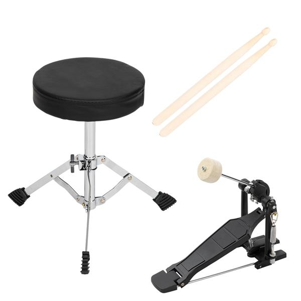 """[Do Not Sell on Amazon]Glarry 16in 5-Piece Complete Kids Junior Drum Set with Bass Drum, two Tom Drum, Snare Drum, Floor Tom, 10"""" Brass Crash-Ride, 8"""" Hybrid Hi-Hats, Stool, Drum Pedal, Sticks Glass B"""