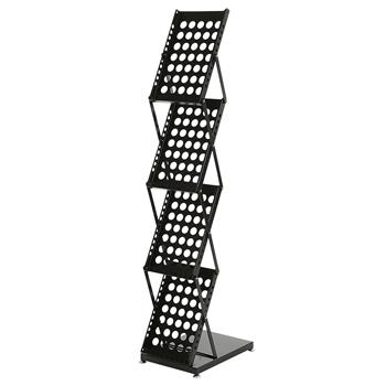 4-Tier Modern Folding Portable Metal Magazine Rack (Black)