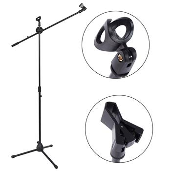 [Do Not Sell on Amazon]Glarry FS-002 Folding Type Tripod Boom Microphone Mic Stand Black