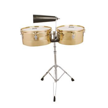 """[Do Not Sell on Amazon]Glarry 13"""" & 14"""" Timbales Drum Set with Stand and Cowbell Golden"""