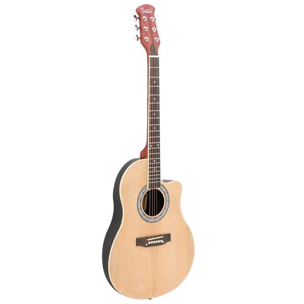 【Do Not Sell on Amazon】Glarry GT101 41 inch Acoustic Guitar Spruce Top Cutaway Round Voice Hole Round Back Burlywood