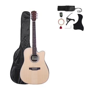 [Do Not Sell on Amazon]Glarry GT604 41 inch Dreadnought Spruce Front Cutaway Rosewood Back Folk Guitar with Bag & Board & Wrench Tool Burlywood