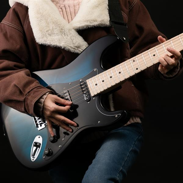 【Do Not Sell on Amazon】Glarry GST Ⅱ Upgrade Electric Guitar with Wilkinson Pickup , Daddario String, Canadian Maple Fingerboards, Bone Nut Blue