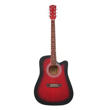[Do Not Sell on Amazon]Glarry GT502 41-Inch Notch Spruce Panel Matte Edging Folk Guitar   Bag   Shield   Wrench Red Gradient
