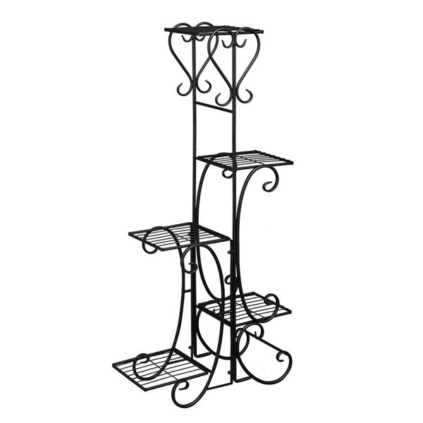 Indoor Outdoor 5-Tier Shelves Patio Plant Holder Outdoor Displaying Plants Flowers (Black Square)